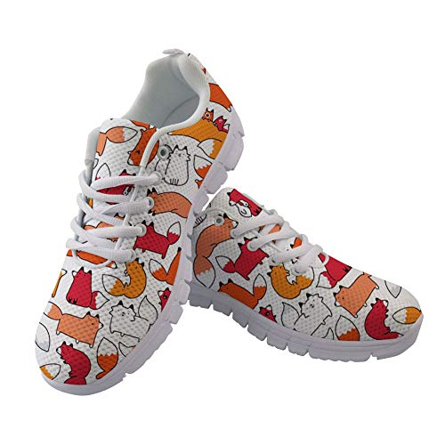 Foxes Walking Air Sneakers up Coloranimal Doodle Mesh Lace Women Running Lightweight Flats Men for q7txZgFdw