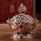 1 Piece Tibetan Incense Holder - Tibetan Lotus Designed Metal Bronze Backflow Incense Burner Craft Censer Stick Holders Home Teahouse Decorations Accessories (RED BRONZE)