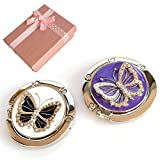 Elesa Miracle Purse Hook Value Set, 2pc Handbag Hanger, Folding Table Hanger, Handbag Accessories, Purple White Butterfly, in Gift Box