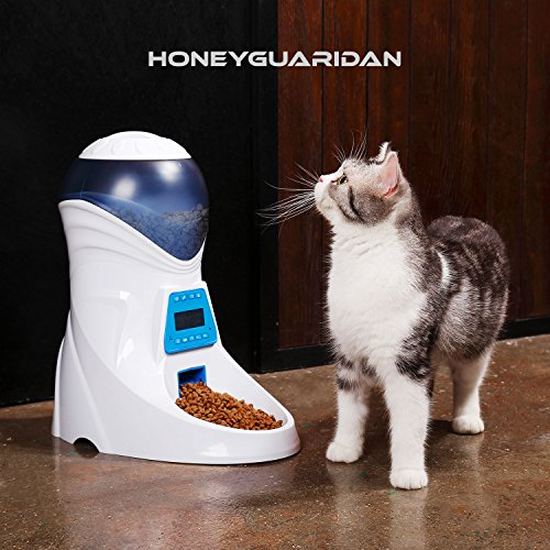 HoneyGuaridan A25 Automatic Pet Feeder Food Dispenser with Removable Food Container, Portion Control,Voice Recording and Timer Programmable, 6-Meal for Dogs (Medium and Small) and Cats & Small Animal by HoneyGuaridan (Image #1)