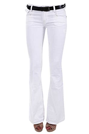 New Womens White Flared Boot Cut Trousers Jeans Ladies Wasit High ...