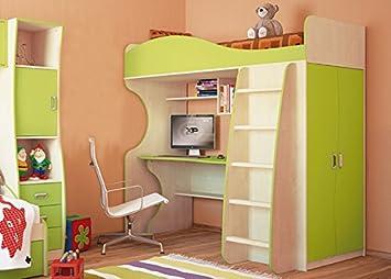 Unbekannt Jugendzimmer Hochbett Kombibett Mit Schrank Schreibtisch