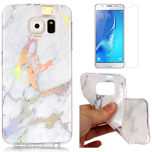 53a0ee50b9c For Samsung Galaxy S6 Marble Case White,OYIME Unique Luxury Glitter  Colorful Plating Pattern Skin