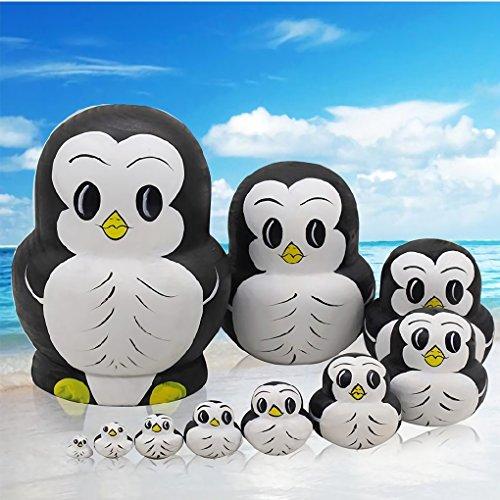 Bitopbi 10pcs Handmade Animal Nesting Dolls Cute Lovely