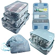 Arxus 8 Set Travel Waterproof Packing Organizers Cubes with Shoe Bag and Toiletry Bag