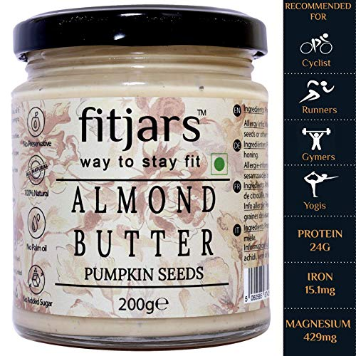 FITJARS All Natural Almond Butter with Pumpkin Seeds, 200 gm Gourmet Food