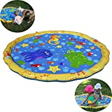 Splash Pad by GreenItem 2018 Enhanced Durable PVC 100cm Garden Sprinkle Splash Play Mat Water Spray Toy Kids Baby Pool Pad Summer Fun Beach Outdoor Lawn Sprinkler Cushion