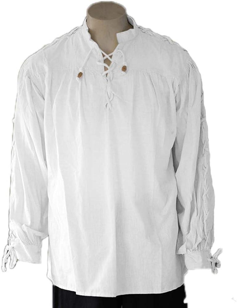 Camisa Medieval para Hombre Retro Edad Media Cuello Alto Gótico Tops de Manga Larga: Amazon.es: Ropa y accesorios