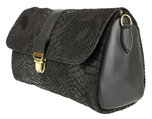 Messenger Italian Snake Black Clutch Leather Girly HandBags Bag Rnxgg