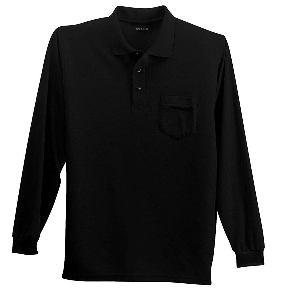 c3ac9846 Joe's USA(tm) Mens Long Sleeve Silk Touch Pocket Polos in Regular, Big &  Tall Sizes. Printed with Joe's USA(tm) Logo Inside. A favorite for years,  ...