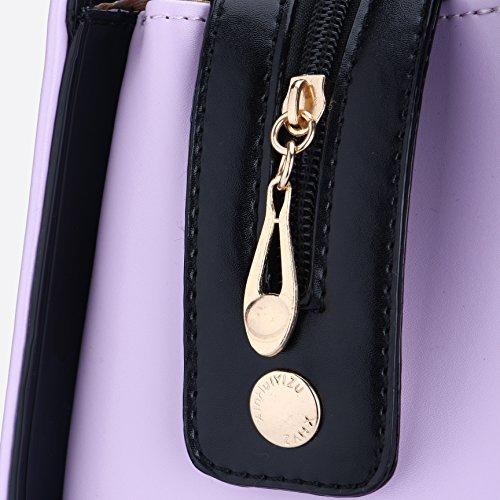 Pelle Dell'arco Bag Mano Di Tote Donne Sacchetti Cravatta Delle Spalla In Viola Classica vwgHwz0q