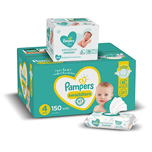Diapers Size 4, 150 Count and Baby Wipes - Pampers
