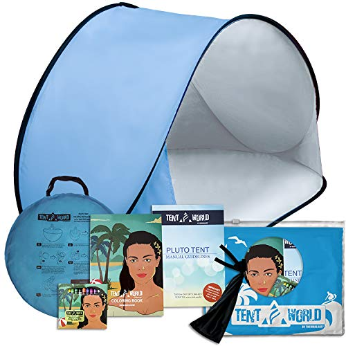Pluto Baby Blue Beach Tent: Protect Your Kids at Any Weather. Popup SunShelter for Babies to Keep Them Away from Rain and Breeze at The Park, Beach and Garden. Includes Coloring Book.]()