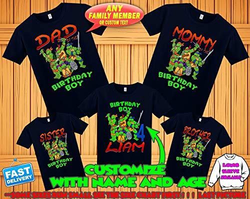 TMNT Ninja Turtles birthday shirt Teenage Mutant Ninja Turtles birthday tshirt tmnt theme party shirts ninja turtles family matching shirts