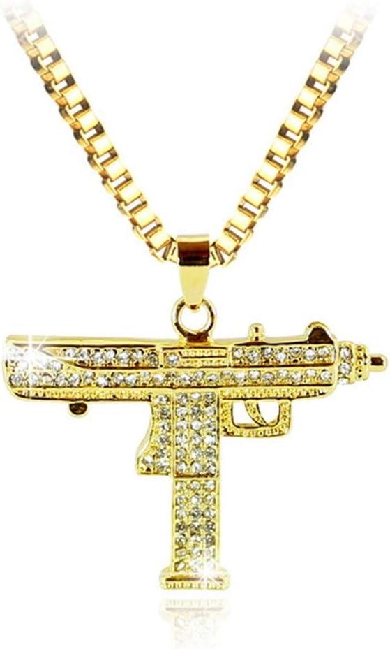 FKJSP Collar Colgante Arma Hombres Mujeres Oro Rhinestone del Color del Encanto Pendiente de la Calidad Fina Cadena de Oro joyería Punky (Metal Color : Xl0538)