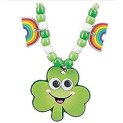 12 - Smile Face Shamrock Beaded Necklace Craft Kits