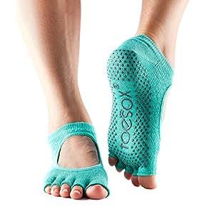 ToeSox Women's Bella Half Toe Grip Socks (Fishnet Lagoon) X-Small