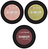 City Color- Shimmer Shadow/ 3 Pack Eyeshadow (Bubble Bath, Evergreen, Marsala)