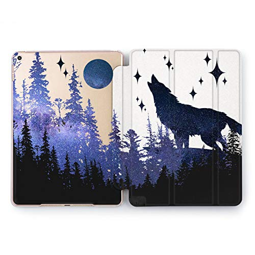 Wonder Wild Night Wolf Sky iPad 5th 6th Generation Tablet Nature Mini 1 2 3 4 Air 2 Pro 10.5 12.9 2018 2017 9.7 inch Smart Cover Trees Plants Space Blue Design Case Forest Purple Nature Beauty ()
