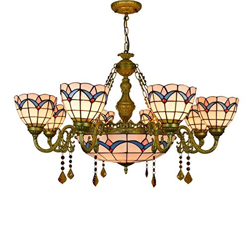 Multi-head Tiffany style Ceiling Lamp Light, Living Room Bedroom Decorative Chandelier Retro Stained Glass Pendant Lamp with 12 inch Chain