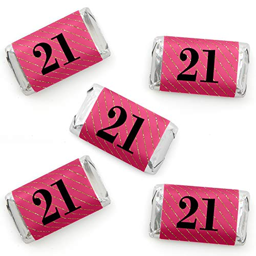 Finally 21 Girl - Mini Candy Bar Wrapper Stickers - 21st Birthday Party Small Favors - 40 Count]()