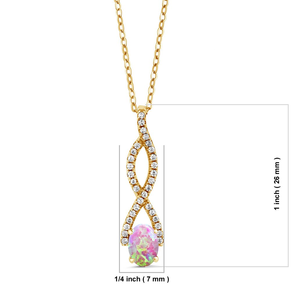 Gem Stone King 1.01 Ct Oval Cabochon Pink Simulated Opal 18K Yellow Gold Plated Silver Pendant