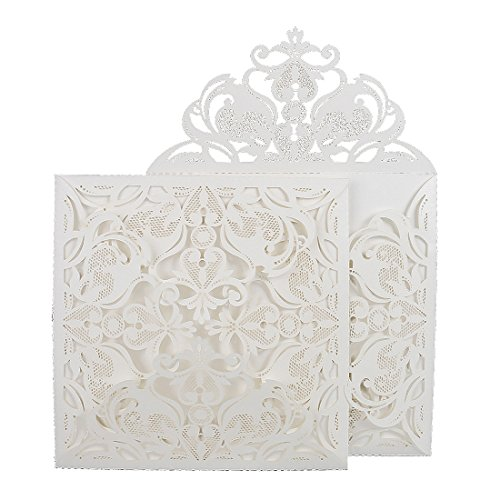 Square White Laser-cut Lace Flower Pattern with inner Wedding Invitations Cards (60pcs)