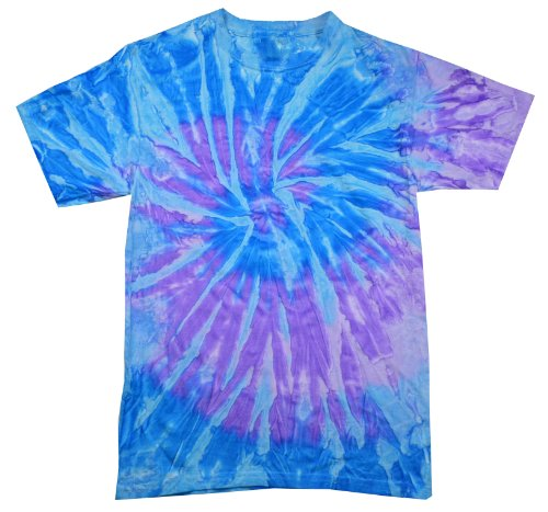 Colortone Tie Dye T-Shirt,Spiral Lavender/Blue,Kids 10-12 (MD)