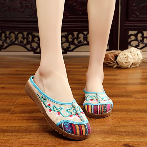 Flower AvaCostume Slipper Beige Vine Linen Casual Embroidery Womens Shoes BBZrnqg