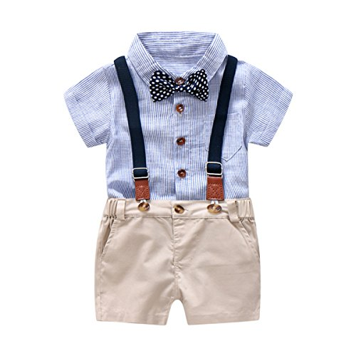 Baby Boys Gentleman Outfits Suits, Infant Blue Shirt+Bib Shorts+Tie+Suspenders Clothing Set,2T -