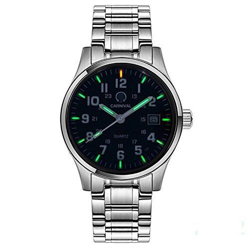 PASOY Men's Tritium Watch Green Light Sapphire Glass Stainless Steel Band Analog Quartz Luminous Watches (Model-Carnival)