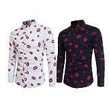 Men's Button Down Long Sleeve Print Shirt,[Vintage Unique...