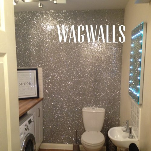 Glitter Wallpaper Grade 3silver Sold By The Metre By Wagwalls