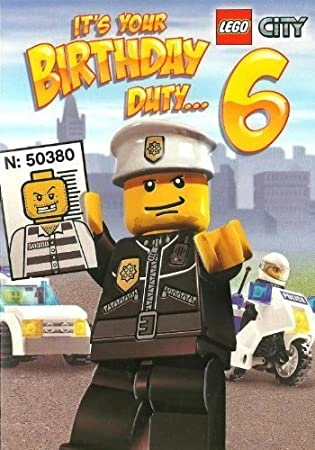 Lego City Police Boys 6th Birthday Card Amazoncouk Office Products