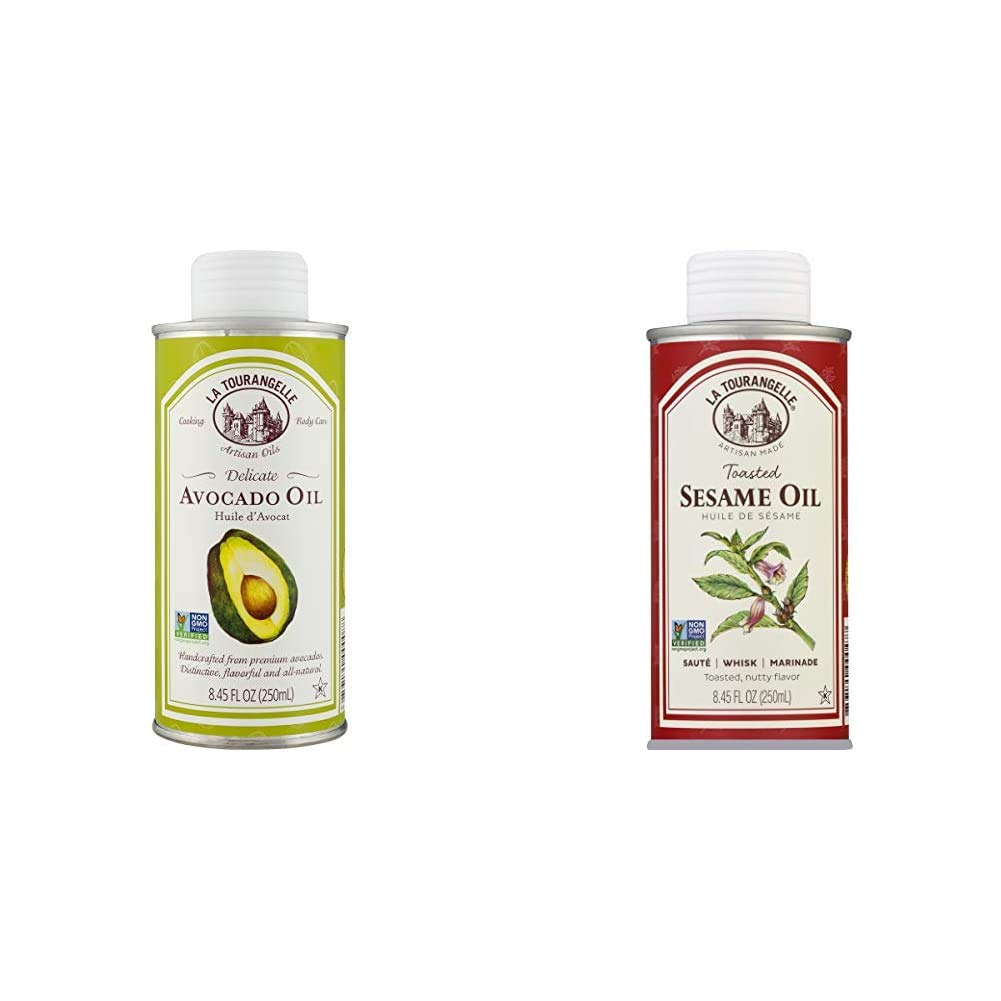 La Tourangelle Avocado Oil 8.45 Fl Oz, All-Natural, Artisanal, Great for Salads, Fruit, Fish or Vegetables, Great Buttery Flavor & Toasted Sesame Oil, 8.5 fl oz