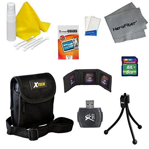 - Accessory Kit for Sony Cyber-Shot DSC-W800 Digital Camera - Includes: 8 GB Memory Card and Card Reader, Protective Digital Camera Carrying Case, Mini Tabletop Tripod, Memory Card Wallet, Lens Cleaning Fluid, Cleaning Cloth, Universal Screen Protectors with Squeegee Card, 5 Cotton Swabs, HeroFiber Ultra Gentle Cleaning Cloth