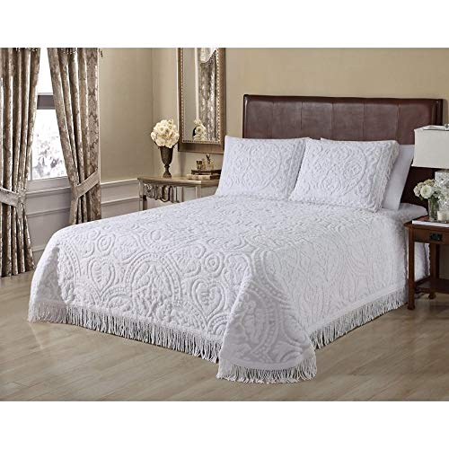 Oversized Ivory White Chenille Bedspread King 120x118 Vintage Victorian Extra Long Bedding to The Floor Tufted Wedding Ring Old Fashioned Traditional Antique Classic Cotton, 1 Piece
