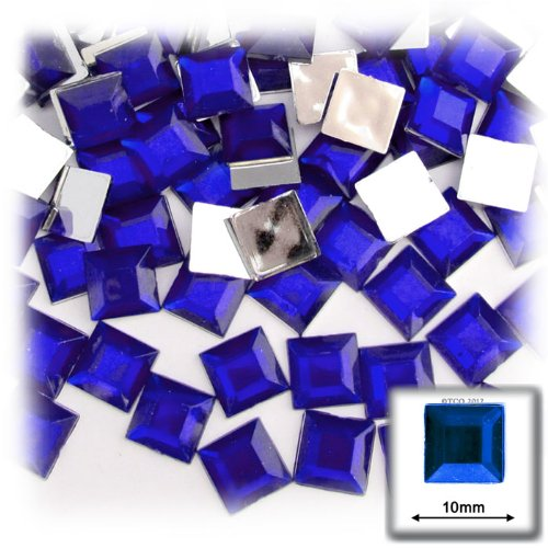 The Crafts Outlet 144-Piece Flat Back Square Rhinestones, 10mm, Royal - Piece 144 Square Rhinestones