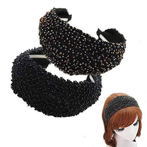 Esuno Bohemian Handmade Beaded Wide Hard Headband, 2PCs Fashion Vintage Beauty Woven Retro Fabric Knitting Black Hard Headband for Women Girl (D-2PCS)