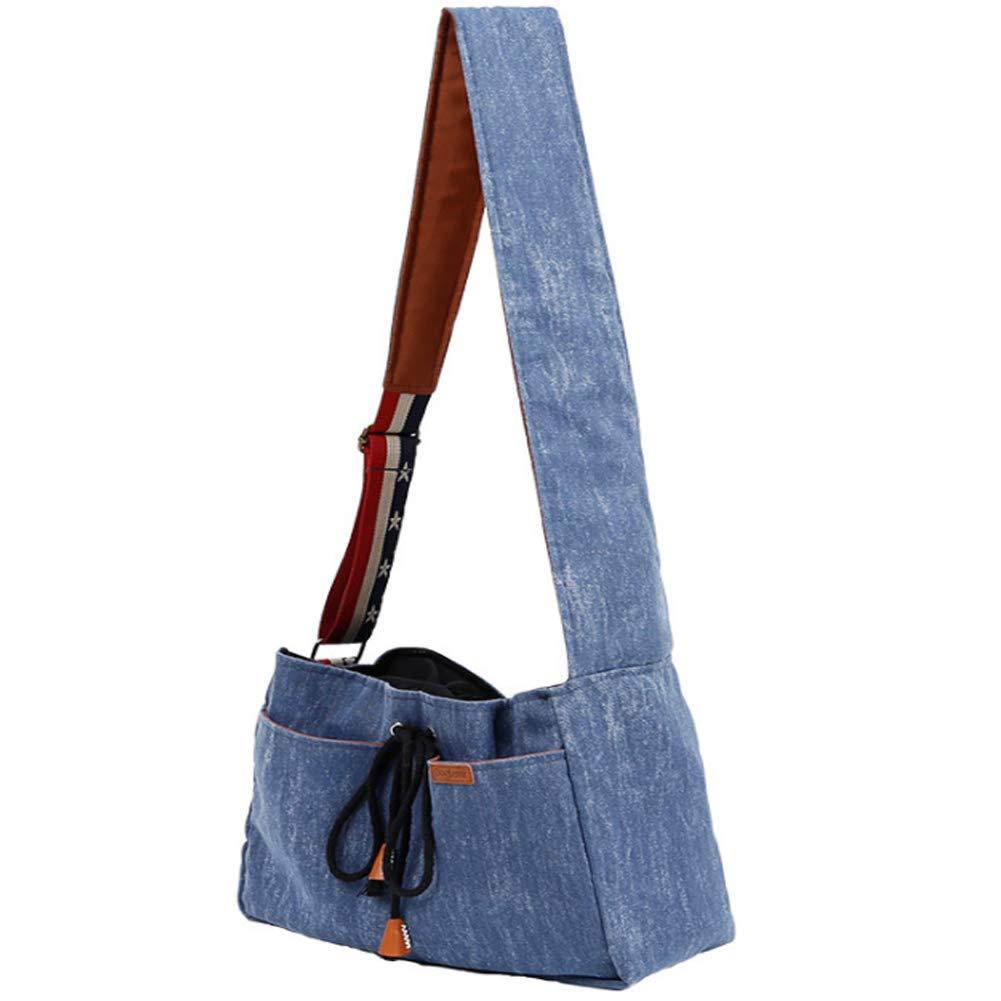 Pet Sling Carrier Bag, Portable Denim Pet Tote Handbag, Hands Free Adjustable Pet Puppy Outdoor Travel Bag for Small Dogs Cat by PJDDP