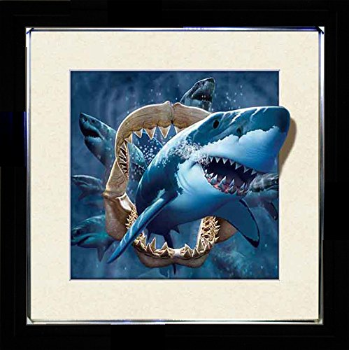 3D Enhanced Picture Frame - 5D Lenticular 3d Picture Poster Artwork Wall Decor Holographic Pics Optical Illusion Animated Image on Canvas (With Black Frame and Silver Outline) (Shark - Jaw Bone)