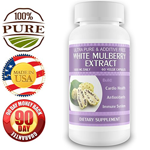 100% Pure Extrait mûrier blanc Leaf - 1 mois d'approvisionnement - contrôle glycémique - Combats cholestérol et les maladies du coeur - Favorise la santé du métabolisme - Suppression de l'appétit - Sugar Blocker - Qualité, Official Formula - 100% Satisfai