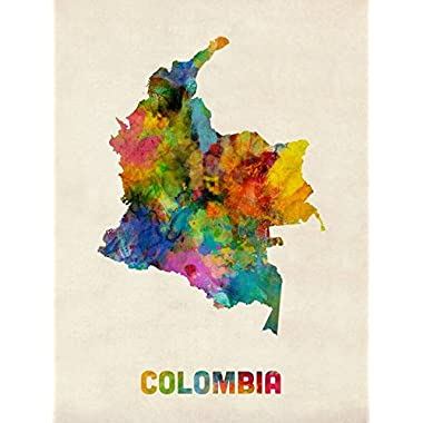 Imagekind Wall Art Print entitled Colombia Watercolor Map Michael Tompsett | 24 x 32