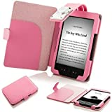 "ForeFront Cases® Funda cubierta de cuero sintético para con luz LED para lectura color rosa, Case Cover Para el Amazon Kindle 4, pantalla de E Ink de 6"" (15cm), wifi, color rosa - 5th Generación"