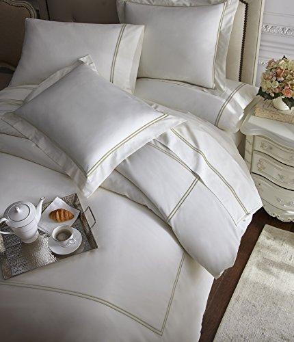 (E.Elana Venezia 4pcs Sheet Set Tencel / Cotton Double Rows Stitch Embroidery Design   Color: Tan / Ivory   Size: Cal-King)