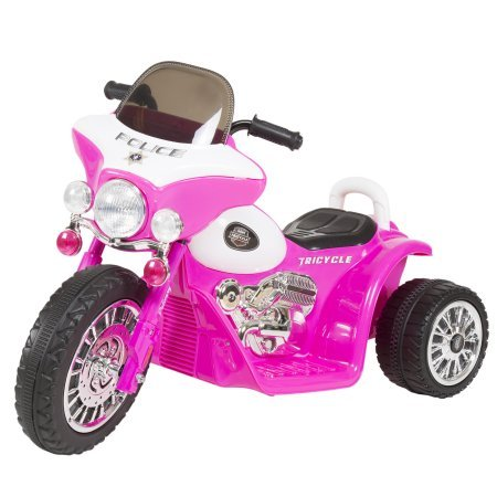 Ride on Toy, 3 Wheel Mini Motorcycle Trike for Kids, Battery Powered Toy by Hey! Play! – Toys for Boys and Girls, 2 - 5 Year Old - Police Car Pink by Hey! Play!