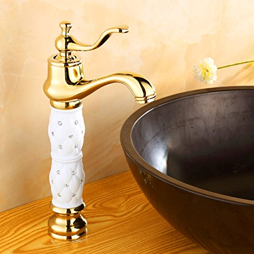 LEI Traditional Colonial Bridge Kitchen Sink Mixer Tap Cross Knobs Handles Gold,(Including :2 x 3/8