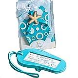 120 Fashioncraft Aqua Blue Rubber Mini Flip Flop Luggage Tag Wedding Thank-you Gifts Baby Bridal Shower Party Souvenir Favors