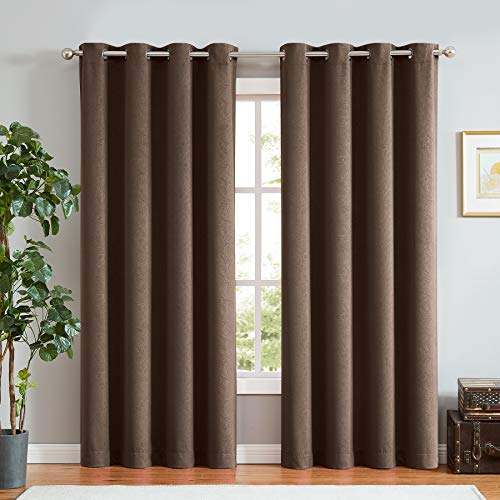 - ECODECOR Paisley Window Curtain for Bedroom 84-Inch Long Brown Full Blackout Energy Efficient Grommet Thermal Insulated Patterned Drapes for Living Room Nursery 2 Pcs