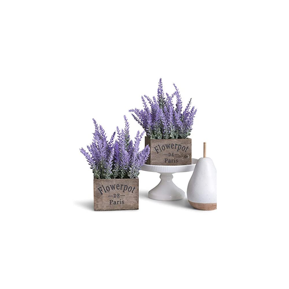 Butterfly Craze Artificial Lavender Plants in Box Pots (Set of Two) - Rustic Home Decor and Beautiful Lifelike Faux Silk…